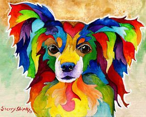 PAPILLON-8X10-DOG-Colorful-Print-from-Artist-Sherry-Shipley