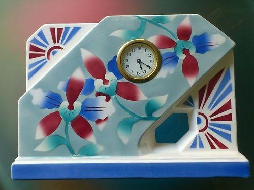 Art Deco Spritzdekor Keramik Uhr, Kaminuhr, Tischuhr Fabrique en Belgique 1930 | eBay