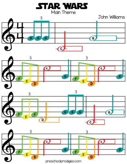 Star Wars (Main Theme) Free Sheet Music in C Major for Chromanotes, Boomwhackers, piano, and Deskbells! Teach your padawan with our preschool music lesson!