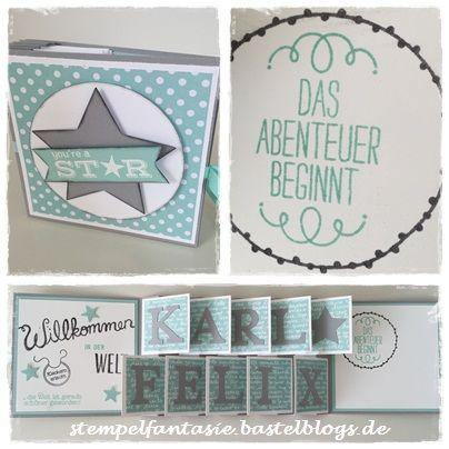 Stampin Up_Geburt_Accordeon card_Akkordeonkarte_Baby_Punkte_Stern_Junge_Willkommen_Stempelfantasie