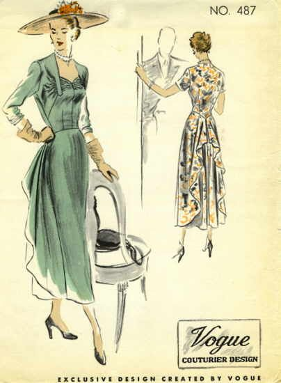 Vintage pattern Vogue 487, Featured in Vogue Pattern Book, April-May 1949