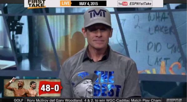 VIDEO: Skip Bayless put Mayweather TMT shirt freaks out on First Take
