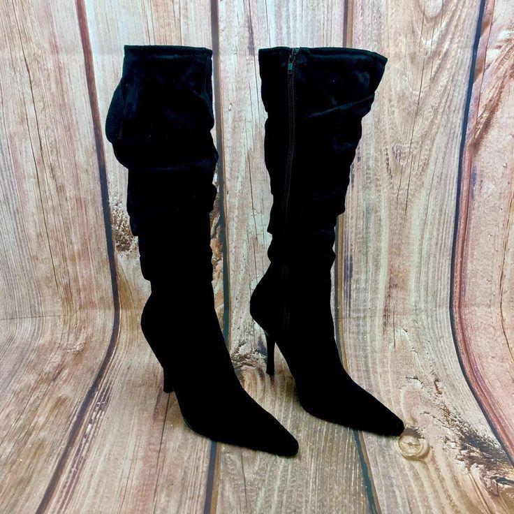 Womans ceaex Boots Black Suede Knee length New Zip Up Stiletto RRP 39.99 size 5