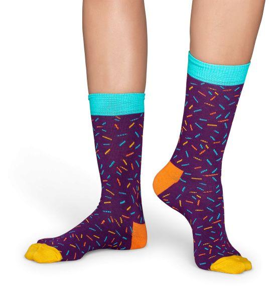 Violette strømper med flerfarvet drys. Happy Socks