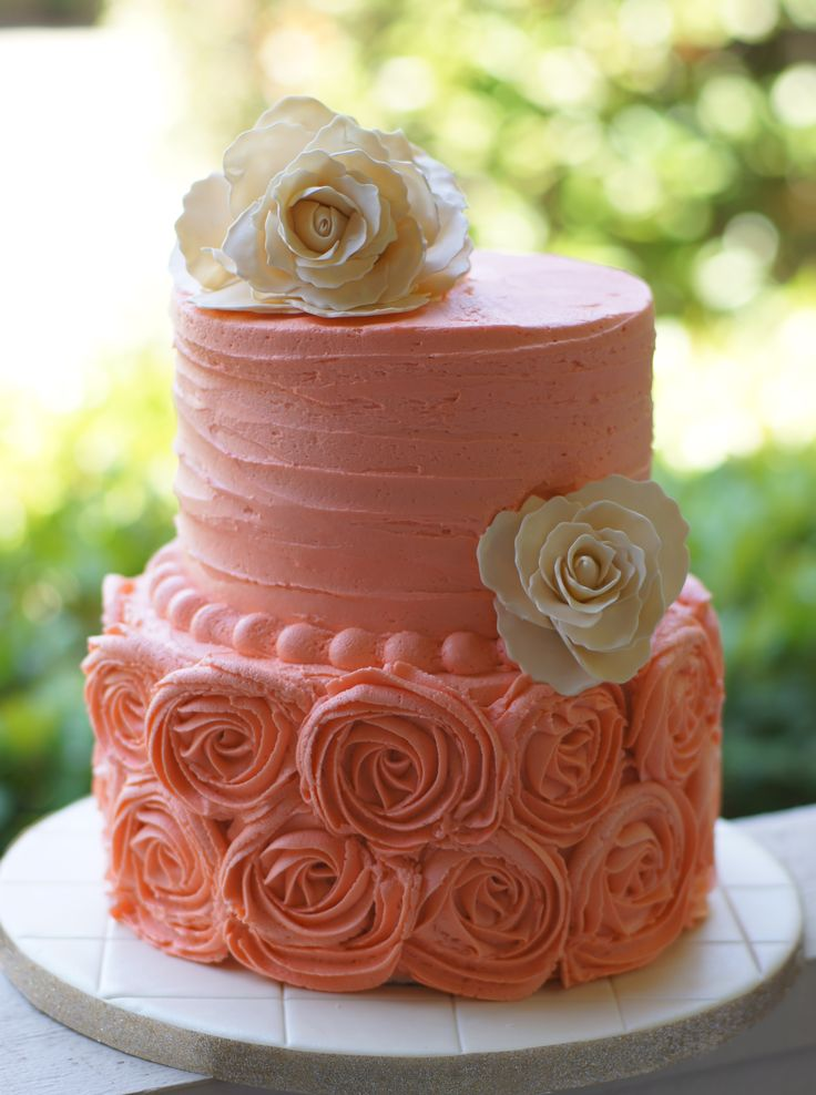 Coral and Ivory Cake - Bridal Shower Cake