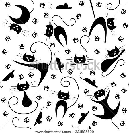 seamless pattern with black cats paw prints and mice