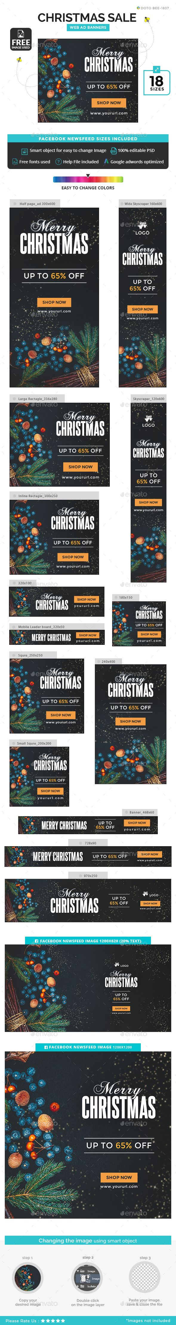 Christmas Sale Banners Template PSD #xmas #ads
