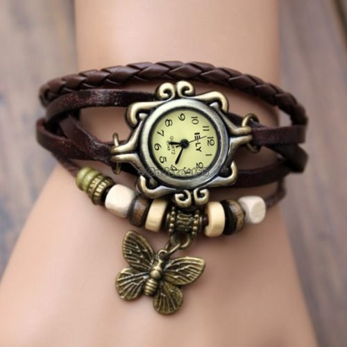 Reloj De Mujer Con Pulsera Cuero Abalorios Cuarzo Brazalete Estilo Vintage C5 in Relojes y Joyas   eBay