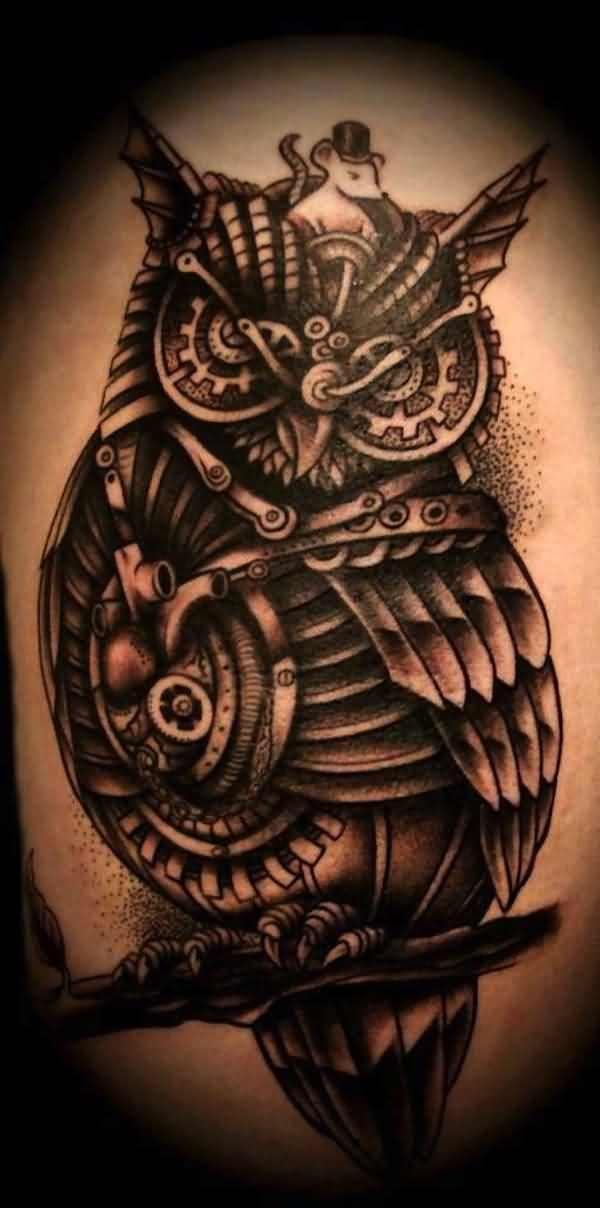 Truly Awesome Biomechanical Owl Tattoo