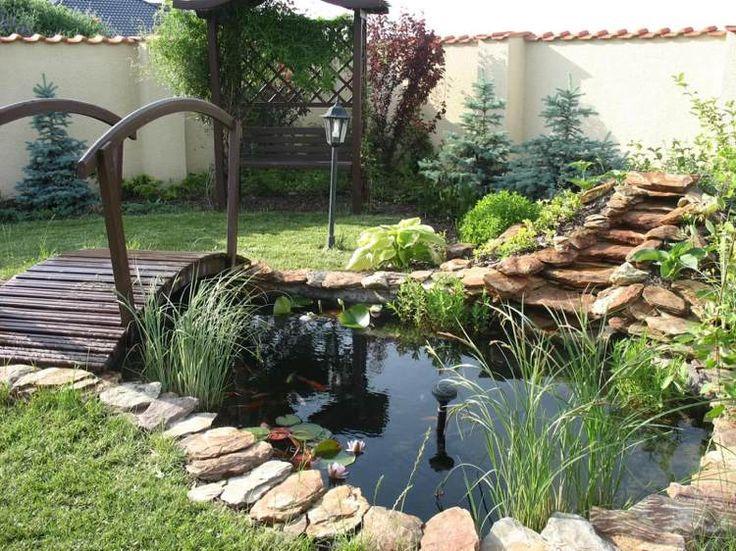 petit bassin de jardin rond avec des poissons et un pont de jardin en bois