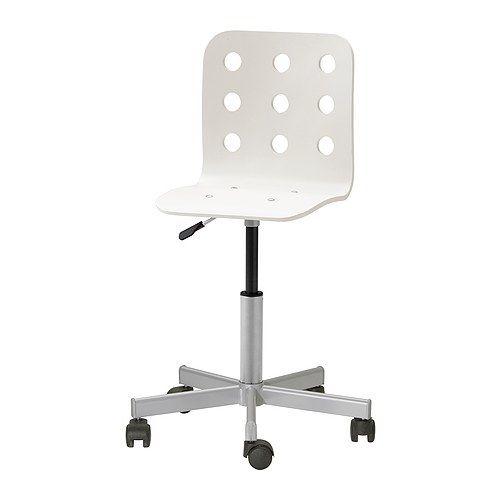 IKEA - JULES, Tienerstoel,  , wit/zilverkleur, , Doordat de stoel in hoogte verstelbaar is, zit je comfortabel.