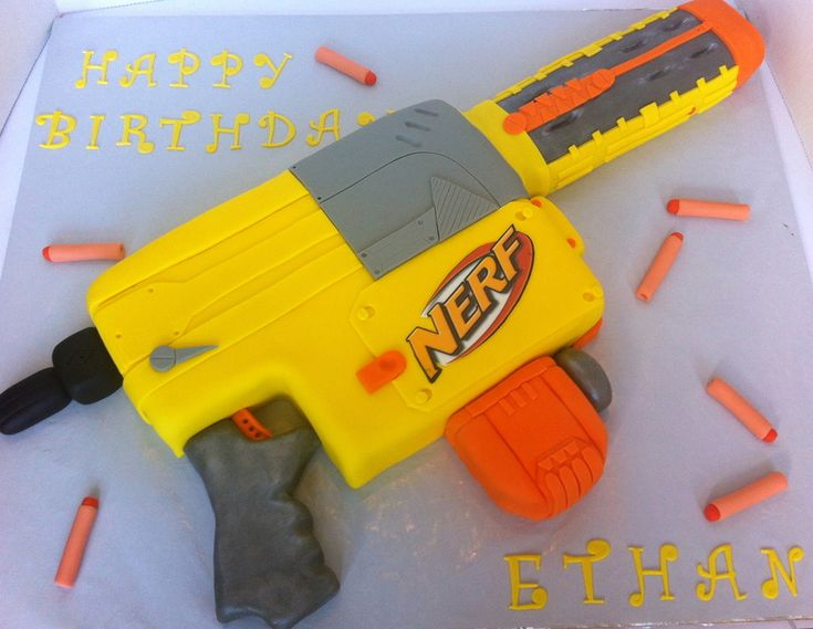 This Is A Nerf Gun Cake I Made For A 7 Year Old Boy Who Was Having A Nerf Battle Party For 20 Of His Friends Yikes Everything Is Edible  on Cake Central