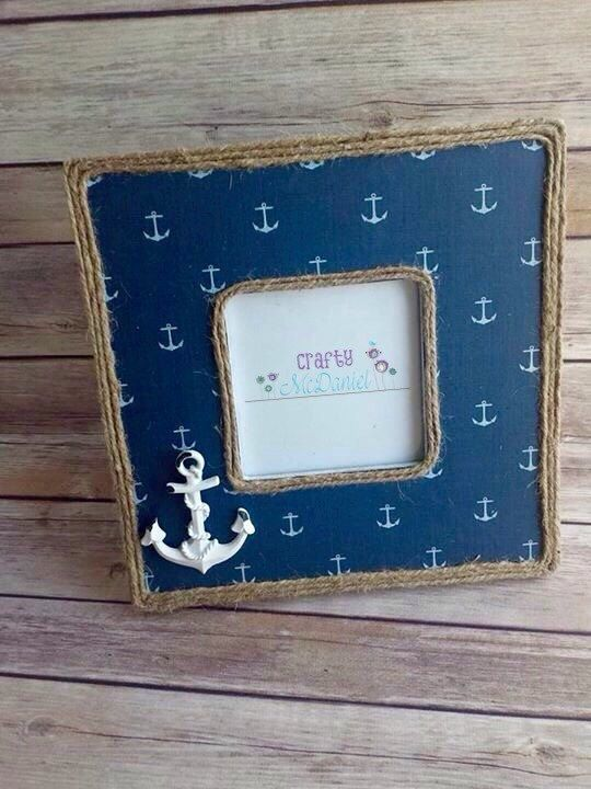 nautical picture frame anchor up cycled ecofriendly ready to ship pinned by pin4etsycom - Nautical Frames