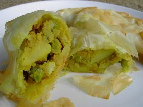 Vegan Thyme: Curried Pea And Potato Somosas in Phyllo Dough (My Garlic Growing Lessons: Scapes Abound!)