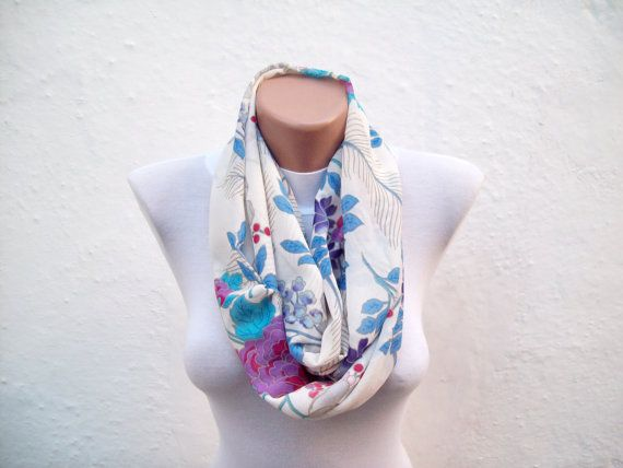 Flower scarfinfinity scarfLoop scarfCircle by scarfnurlu on Etsy