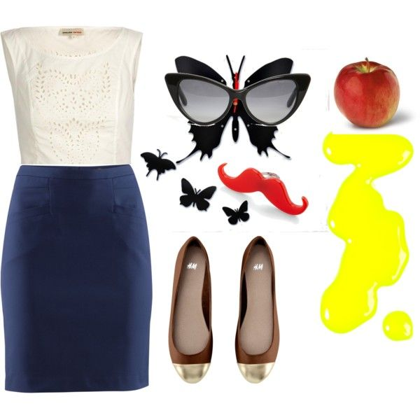 Eat Your Apple by kikajit on Polyvore featuring Opening Ceremony, H&M, FluffyCo, Tom Ford, Models Own, white top, h&m, eat, nail polish and yellow