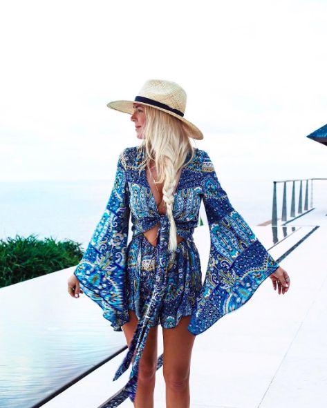 Le Salty Elke Romper Playsuit in Ocean || $89 || From Minx + Pearl || Shop the look via the link in our bio || www.minxandpearl.com