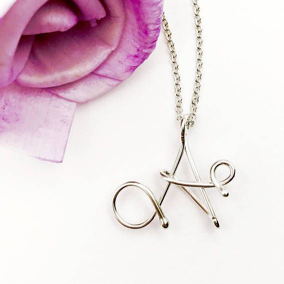 Letter A wire initial charm necklace by Kalligra Jewelry. kalligrajewelry.etsy.com