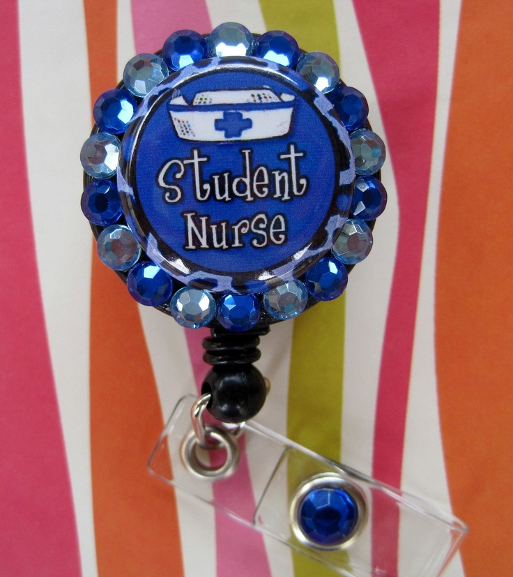 Student Nurse Badge Holder ID retractable reel with Acrylic Rhinestones Different Colors to choose from. $8.99, via Etsy.