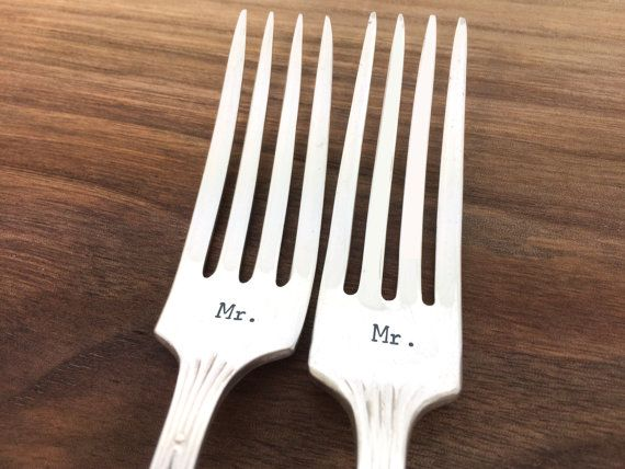 Gift for gay couple mr mr forks gay wedding gift hand