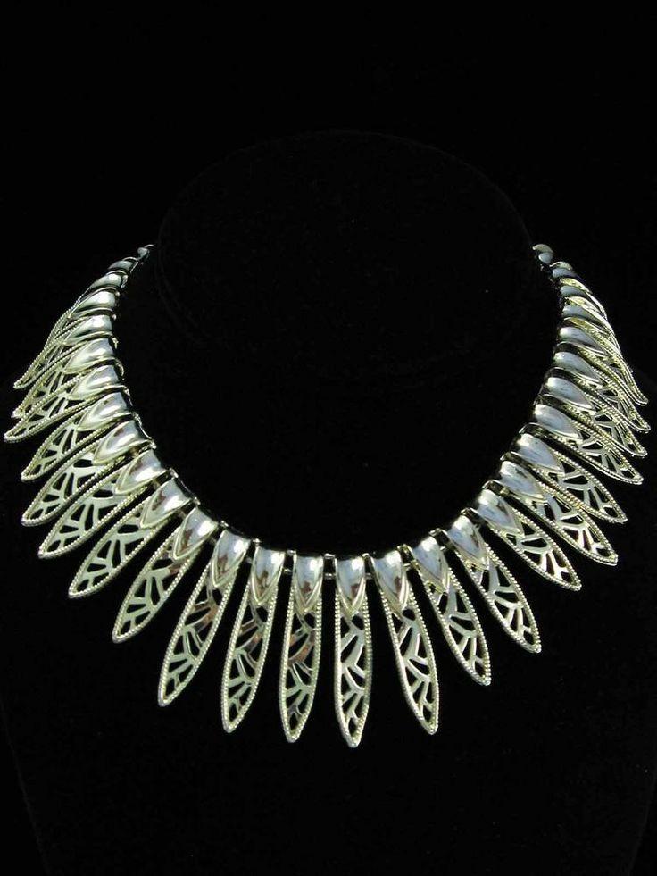 Vintage Designer CORO Gold Egyptian Revival Articulated Collar Bib Necklace ~HOT #Coro