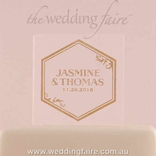 Black And Gold Opulence Personalised Engraved Acrylic Block Cake Topper - The Wedding Faire