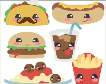 Kawaii Food Clipart Clip Art Commercial and by PinkPueblo on Etsy