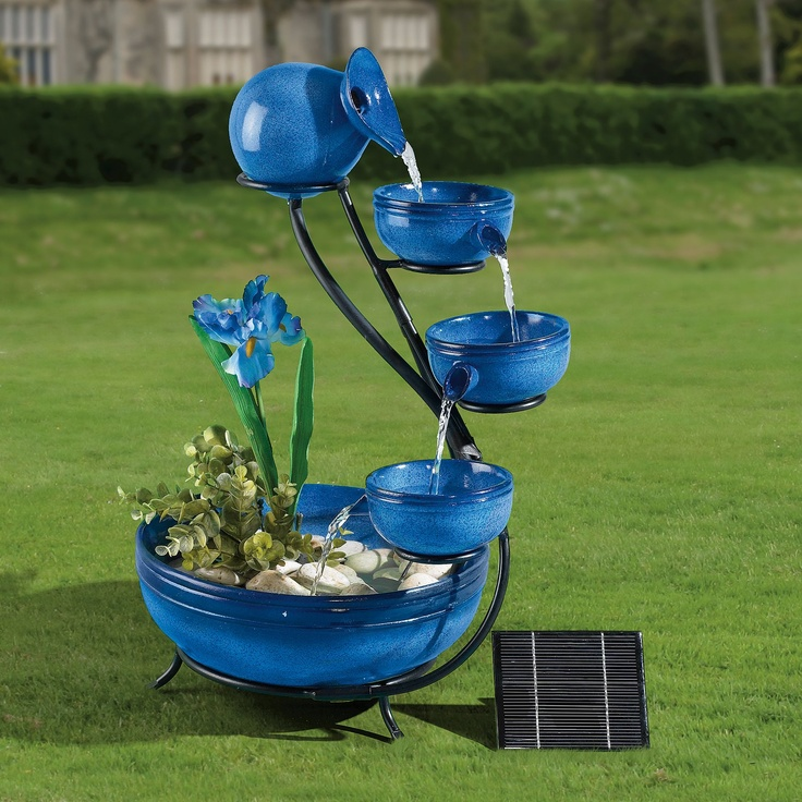 Perfect Solar Powered Fountain Panel Garden Waterfall Outdoor Furniture Blue  Hallway NEW