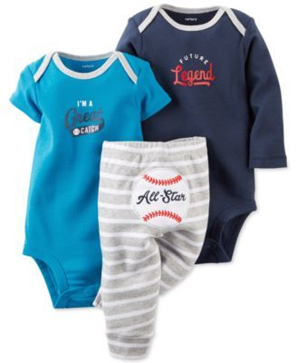 Carter's Baby Boys' 3-Piece Baseball Bodysuits & Pants Set