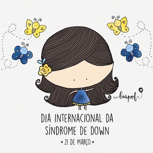"""uma ilustração especial em e ✨ hoje, no Dia Internacional da Síndrome de Down, o que mais precisamos, é de menos preconceito! """"Não sou diferente, eu faço a diferença!"""" ✨ #sindromededown #biaPOF"""