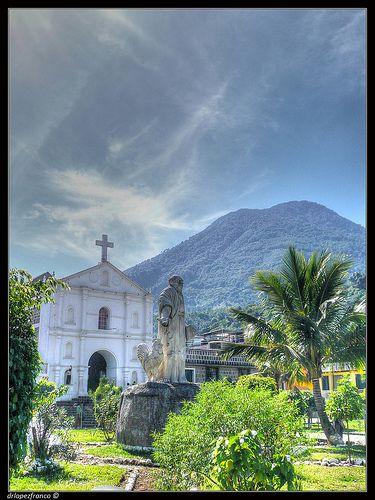 San Pedro Volcano, Church and statue. San Pedro La Laguna, Solola