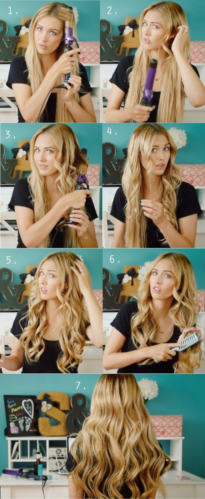 Tutorial on how to get waves for long hair. Girl is using curler on hair. Girl is brushing out curls. Girl is in her bedroom.