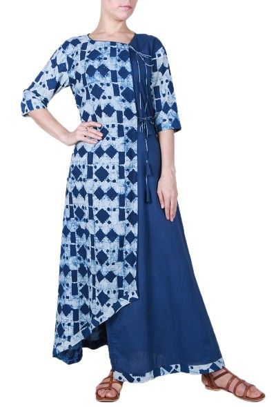 Beautiful indigo colour dress with traditional Bagru print. The asymmetric cut & the double shades gives this dress a contemporary touch along with the classic touch by the angrakha style.
