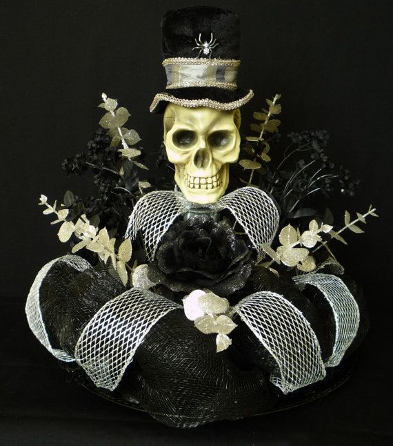 Halloween Table Centerpiece Skull Centerpiece by wreathsbyrobin www.etsy.com570 × 646Search by image Halloween Table Centerpiece, Skull Centerpiece, Poly Deco Mesh - Item 315