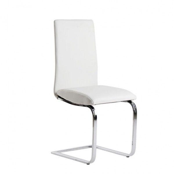 """Silla de comedor blanca con estructura cromada y en forma de """"C"""" que le proporciona un ligero efecto basculante."""