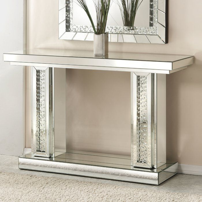 Longo Rectangle Mirrored Console Table Mirrored Sofa Table
