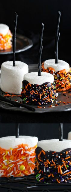 These Halloween Marshmallow Pops from My Baking Addiction are a fun and easy Halloween dessert treat that you can make for your friends and family.
