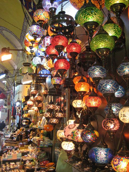 istambul -  how beautiful the lanterns are all collected at the vendors and all rainbow colored.