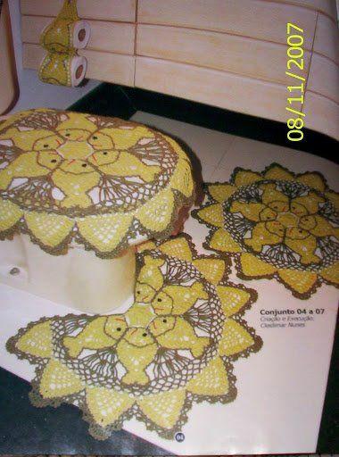 Tapete Rosa Franzida Com Miolo : Set De Bano Crochet
