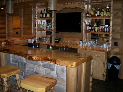 Wood Slab Bar Top With Stone Base
