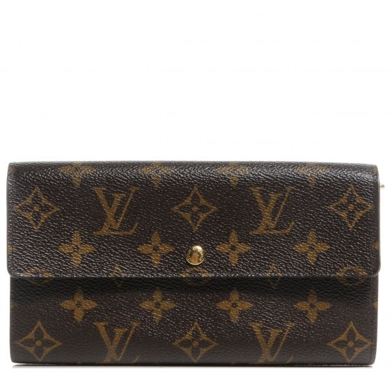 This is the authentic LOUIS VUITTON Monogram Sarah Wallet.   This classic clutch wallet is crafted of traditional monogram coated canvas with a frontal half flap that opens with a snap to a terra cotta crossgrain leather interior with multiple credit card slots a zippered section and two main compartments.