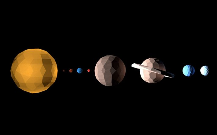 Download wallpapers planets of the solar system, rectangle style, space concepts, planetary series