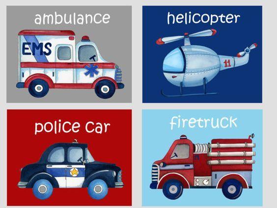 emergency cars trucks nursery art prints by theprincessandpea