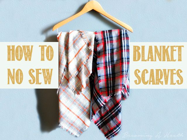 DIY No Sew Blanket Scarf How To for fall with how to style a blanket scarf! // www.BecomingAHeath.com // Scarf Fashion // Fall Fashion