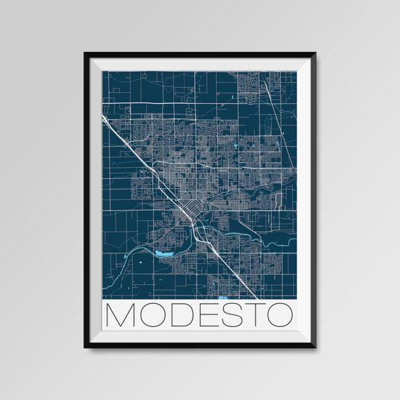 Modesto map, California, blue, Modesto print, Modesto poster, Modesto map art, Modesto city maps, Modesto Minimal Wall Art, Modesto Office Home Décor, black and white custom maps, personalized maps