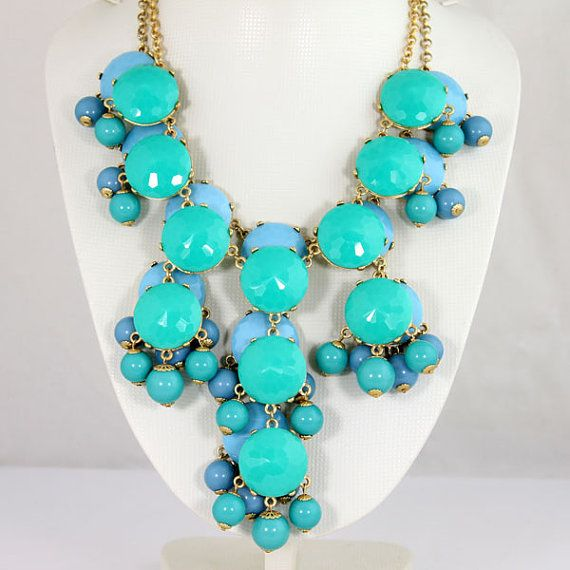 NEW 2 Piece Turquoise Blue and Sky Blue Bubble by Emilyjewelry4u, $28.40