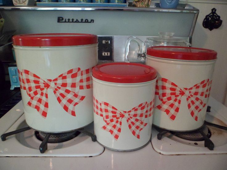 Vintage Decoware Set of 3 Metal Kitchen Canisters Red White Gingham Bows for Your Red White Kitchen! by PleasantDaysVintage on Etsy