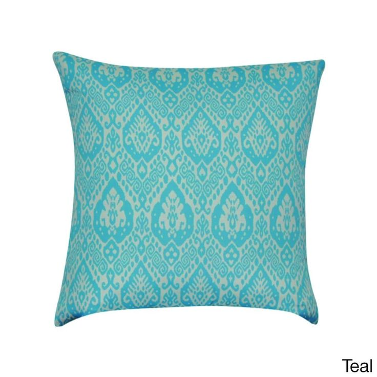 Loom and Mill 22 x 22-inch Damask Decorative Pillow (Teal), Blue, Size 21 x 21 (Polyester, Graphic Print)