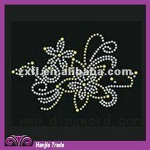 Wholesale Decorative Rhinestone Flower Pattern Hot Fix Motif