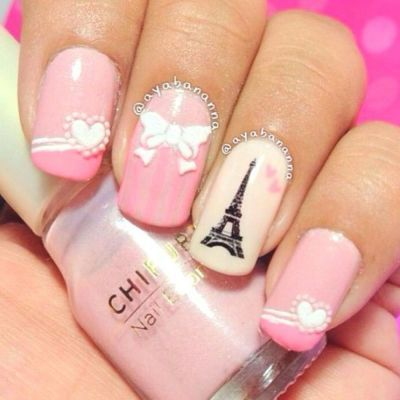Super cute Paris nails. I have pinned other Paris nails. Check then out in my board, Nails!